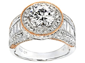 Pre-Owned Cubic Zirconia Rhod Over Sterling Silver With 18k Rose Gold Accent Ring 5.35ctw