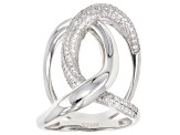 Pre-Owned White Cubic Zirconia Rhodium Over Sterling Silver Ring 1.45ctw