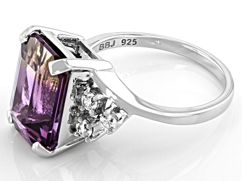 Pre-Owned Bi-Color Ametrine Rhodium Over Sterling Silver Ring 8.24ctw