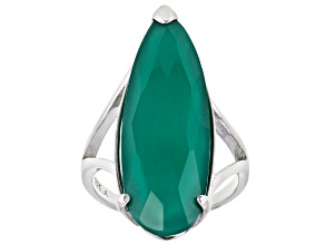 Pre-Owned Green onyx sterling silver solitaire ring