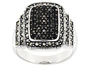 Pre-Owned Black Spinel Silver Ring .33ctw