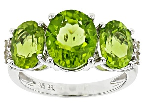 Pre-Owned Green Peridot Sterling Silver Ring 4.71ctw