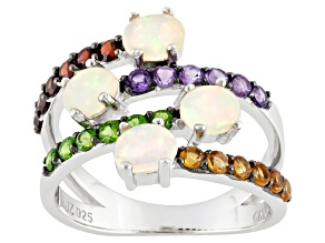 Pre-Owned Multi Color Ethiopian Opal And Multigem Sterling Silver Ring 1.70ctw.
