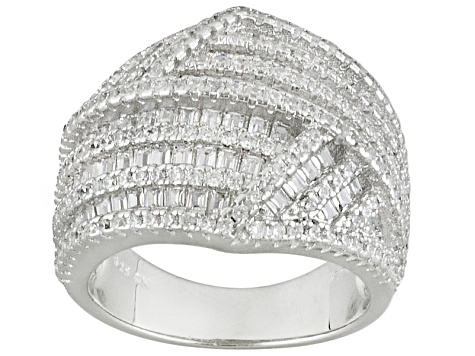 Pre-Owned White Cubic Zirconia Rhodium Over Silver Ring 3.58ctw