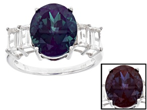 Pre-Owned Blue Lab Created Alexandrite Silver Ring 5.93ctw