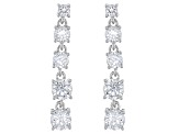 Pre-Owned White Cubic Zirconia Rhodium Over Silver Jewelry Set 22.80ctw