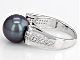 Pre-Owned Cultured Tahitian Pearl With White Zircon Rhodium Over Sterling Silver Ring 11mm