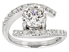 Pre-Owned Moissanite Fire® 2.56ctw Diamond Equivalent Weight Round Platineve™ Ring