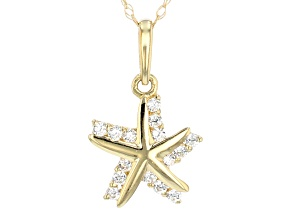 Pre-Owned White Cubic Zirconia 10k Yellow Gold Starfish Pendant With Chain 0.15ctw