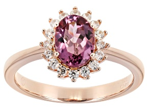 Pre-Owned Pink garnet 18K rose gold over sterling silver ring 1.51ctw