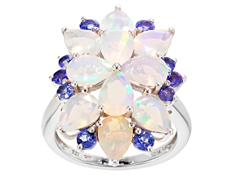 Pre-Owned Multi Color Ethiopian Opal Sterling Silver Ring 4.31ctw.