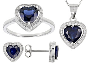 Pre-Owned Lab Created Sapphire & White Cubic Zirconia Rhodium Over Silver Jewelry Set 4.50ctw
