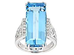 Pre-Owned Sky Blue Topaz Sterling Silver Ring 16.43ctw