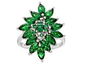 Pre-Owned Green Cubic Zirconia Rhodium Over Sterling Silver Ring 6.17ctw