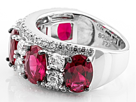 Pre-Owned Red And White Cubic Zirconia Rhodium Over Silver Ring 5.89ctw