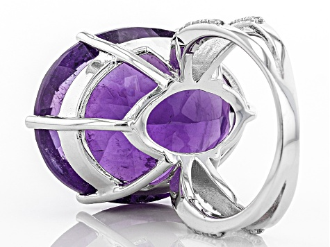Pre-Owned Purple African amethyst sterling silver ring 25.47ctw