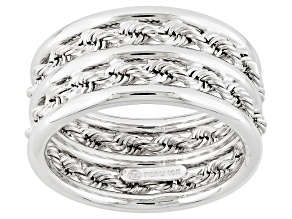 Pre-Owned 10k White Gold Hollow Rope Link Band Ring
