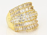Pre-Owned White Cubic Zirconia 18k Yg Over Sterling Silver Ring 7.14ctw