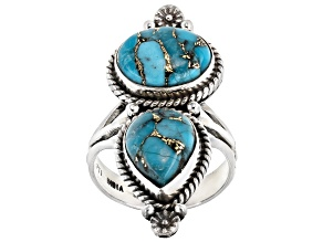 Pre-Owned Blue turquoise sterling silver 2-stone ring