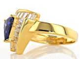 Pre-Owned Blue And White Cubic Zirconia 18k Yellow Gold Over Silver Ring 5.72ctw