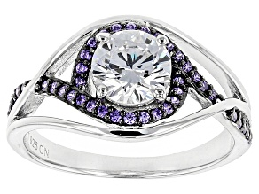 Pre-Owned Purple And White Cubic Zirconia Black And White Rhodium Over Sterling Ring 3.90ctw