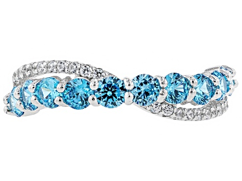 Pre-Owned Blue and White Cubic Zirconia and Blue Synthetic Spinel Rhodium Over Sterling Ring Set 6.0
