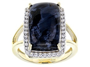 Pre-Owned Blue Pietersite 10k Yellow Gold Ring .29ctw