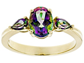Pre-Owned Green Mystic Fire® Topaz 10k Yellow Gold Ring