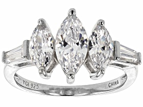 Pre-Owned White Cubic Zirconia Rhodium Over Sterling Silver Ring 3.42ctw