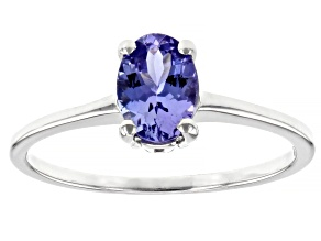 Pre-Owned Blue Tanzanite Rhodium Over 10k White gold Ring 0.75ctw