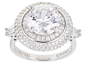 Pre-Owned White Cubic Zirconia Rhodium Over Sterling Silver Ring 8.00ctw