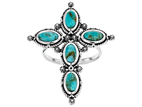 Pre-Owned Turquoise Rhodium Over Silver Cross Ring