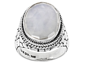 Pre-Owned White Moonstone Silver Solitaire Ring