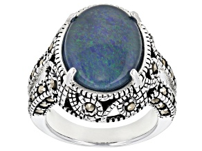 Pre-Owned Multi-color Opal Triplet Sterling Silver Ring
