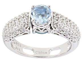 Pre-Owned London Blue And Sky Blue Topaz Rhodium Over Sterling Silver Reversible Ring 2.44ctw