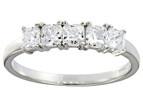 Pre-Owned Bella Luce® 1ctw Cushion White Diamond Simulant Sterling Silver 5 Stone Ring