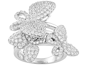 Pre-Owned White Cubic Zirconia Rhodium Over Sterling Silver Ring 2.00ctw