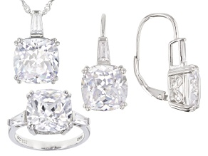 Pre-Owned White Cubic Zirconia Rhodium Over Sterling Silver Jewelry Set 34.42ctw