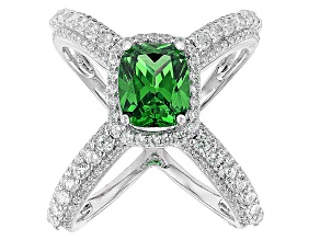 Pre-Owned Green And White Cubic Zirconia Rhodium Over Silver Ring 5.95ctw