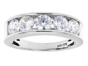 Pre-Owned White Cubic Zirconia Rhodium Over Sterling Silver Ring 2.90ctw