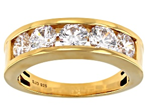 Pre-Owned White Cubic Zirconia 18K Yellow Gold Over Sterling Silver Ring 2.90ctw