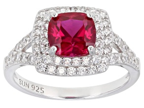 Pre-Owned Red Lab Created Ruby Rhodium Over Sterling Silver Ring 2.49ctw