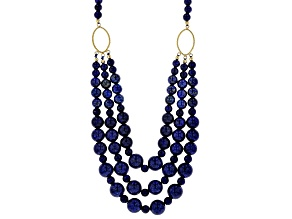 Pre-Owned Blue lapis lazuli 18k yellow gold over silver bead necklace