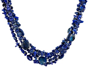Pre-Owned Blue Lapis Lazuli And Sterling Silver 5-Strand Necklace