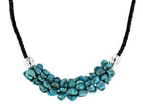 Pre-Owned Turquoise Nuggt Rhodium Over Sterling Leather Cord Necklace