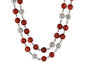 Pre-Owned Red Sponge Coral Rhodium Over Silver Bead Necklace