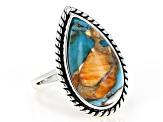 Pre-Owned Turquoise Blended With Spiny Oyster Shell Rhodium Over Silver Ring