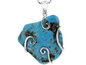 Pre-Owned Turquoise  Rhodium Over Silver Pendant With Chain