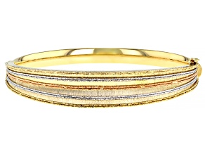 Pre-Owned 14K YELLOW, WHITE AND ROSE GOLD CONCAVE HINGED BANGLE BRACELET
