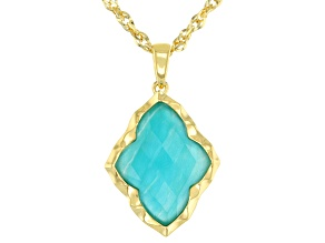 Pre-Owned Green Amazonite 18k Gold Over Silver Pendant With Chain